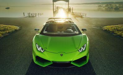 Lamborghini huracan, green, sports car
