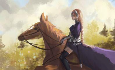 Ruler, Fate/Apocrypha, horse, anime girl, art