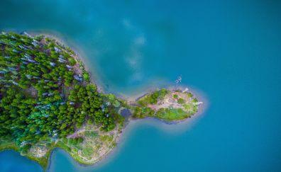 Island, aerial view, nature, sea, 4k