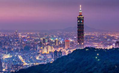 Taipei, taiwan, skyscrapers, night, city