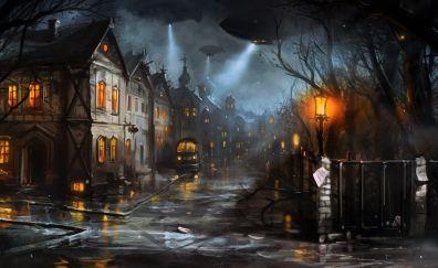 Patrolling, street, night, art