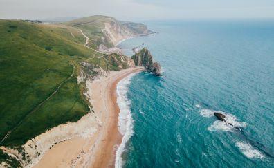 Coast, beach, landscape, blue sea, aerial view