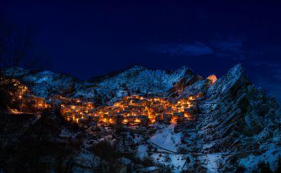 Italy, village, town, mountains, night