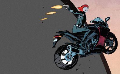 Black widow, marvel comics, bike