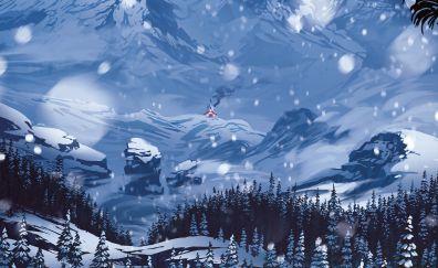 Snow mountains illustration artwork