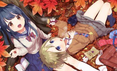 Autumn, anime girls, sitting, 4k