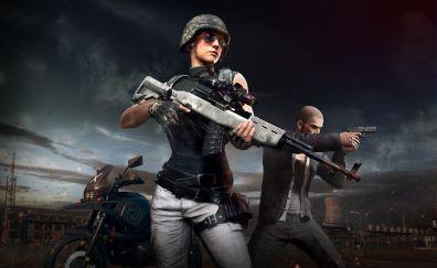 PlayerUnknown's Battlegrounds, girl solider, online game, 5k