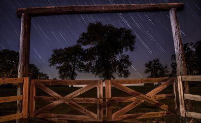 Night in farm field