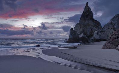 Portuguese, beach, sunset, cliff, 4k