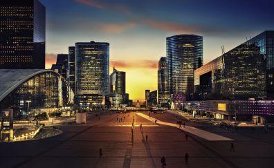 Arc de triomphe, paris, city, night, buildings, 4k