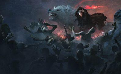 Jon snow, wolf, attack, white walkers, artwork