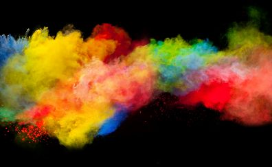Colorful, powder explosion