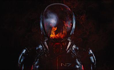 Mass Effect: Andromeda, 2017 game, N7, soldier, flame on helmet, 4k