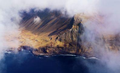 Clouds, aerial view, Faeroe Islands, coast, 4k