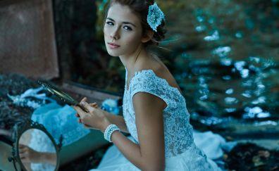 White wedding dress, model, girl, brunette, sitting