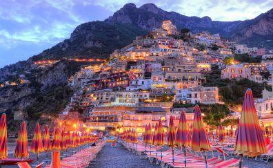 Amalfi, city, resort, apartments, mountains, sunset