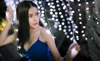 Thailand model, girl model, lights, bokeh