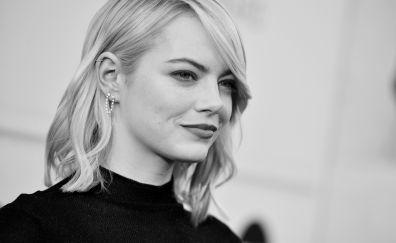 Emma Stone, smile, actress, monochrome, 2017, 4k