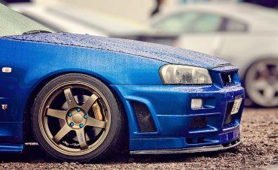 Nissan GT R Blue car's wheel