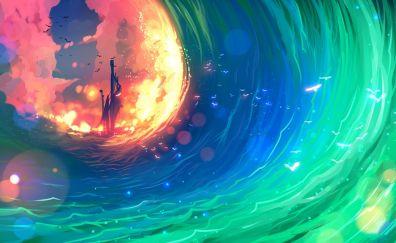 Ship, colorful, sea waves, anime, art