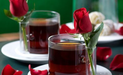 Red rose flower with red wine