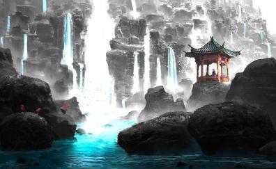 Rocks, waterfall, nature, anime, original