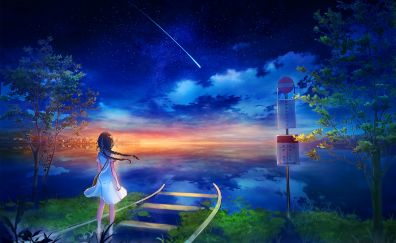 Night out, anime girl, fantasy, colorful skyline