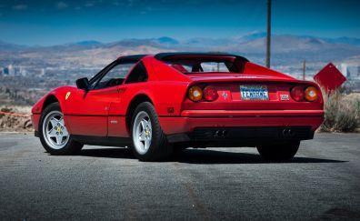 Ferrari 328 GTS, red, sports car, rear view