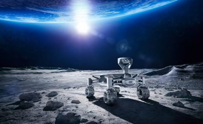 Audi, Moon rover, vehicles, robot, planet, surface, 4k