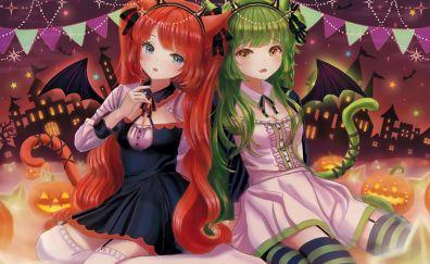 Original, anime girls, friends, halloween