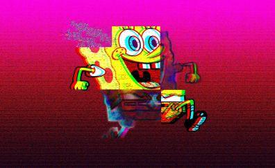 SpongeBob SquarePants, smile, run, glitch art