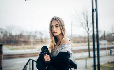 Winter, jacket, girl model, looking straight