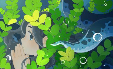 Leaves, anime girl, face, original