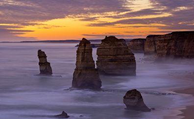 The 12 apostles, coast, Australia, sunset