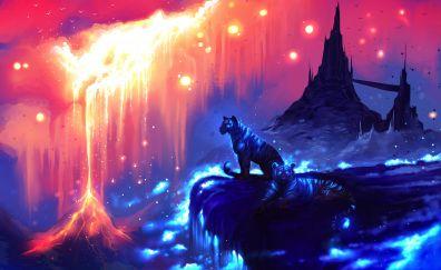 Tigers, castle, illustration, art