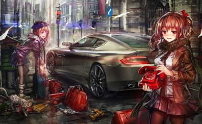 Anime girls, original, street, art