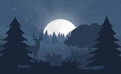 Forest, reindeer, tree, night, minimal, art