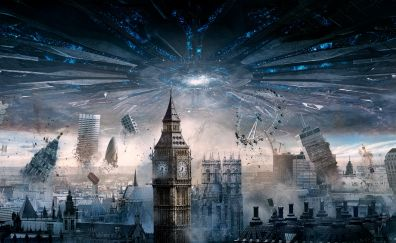 Independence Day: Resurgence, alien invasion, London, city, movie, 5k