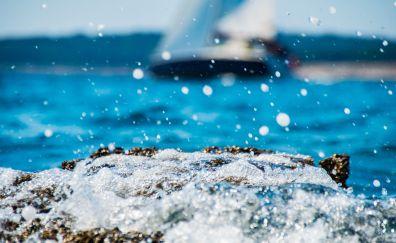 Sea waves, splashes, foam, coast, drops