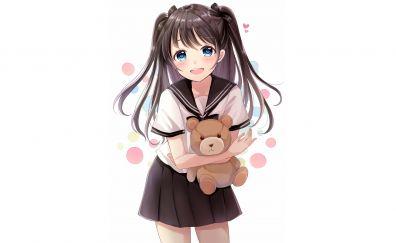 Cute girl anime, teddy bear, original
