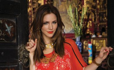 Katharine McPhee, actress, red dress, necklace