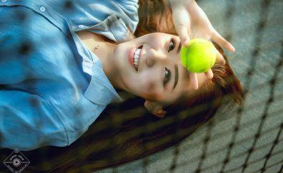 Smile, Asian model, tennis ball