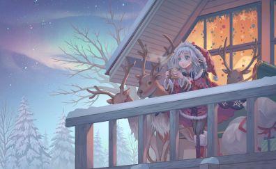Christmas, santa, anime girl, reindeer
