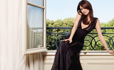 Olga Kurylenko, celebrity, black dress, sitting
