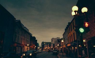 Urban city, night, street, street light, lamp