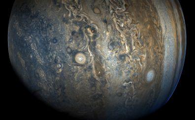 Jupiter, planet, southern hemisphere, juno, spacecraft, nasa 4k