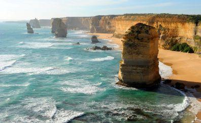 The Twelve Apostles, cliff, landscape, beach, aerial view