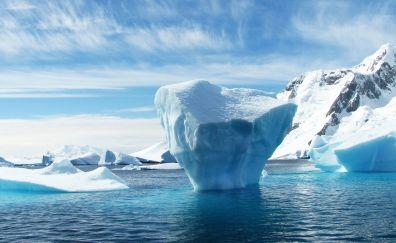 Antarctica, iceberg, glacier, snow, sea, sky