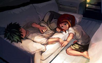 Izuku Midoriya, Ochaco Uraraka, Boku no Hero Academia, anime, couple