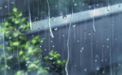 Window, surface, rain drops